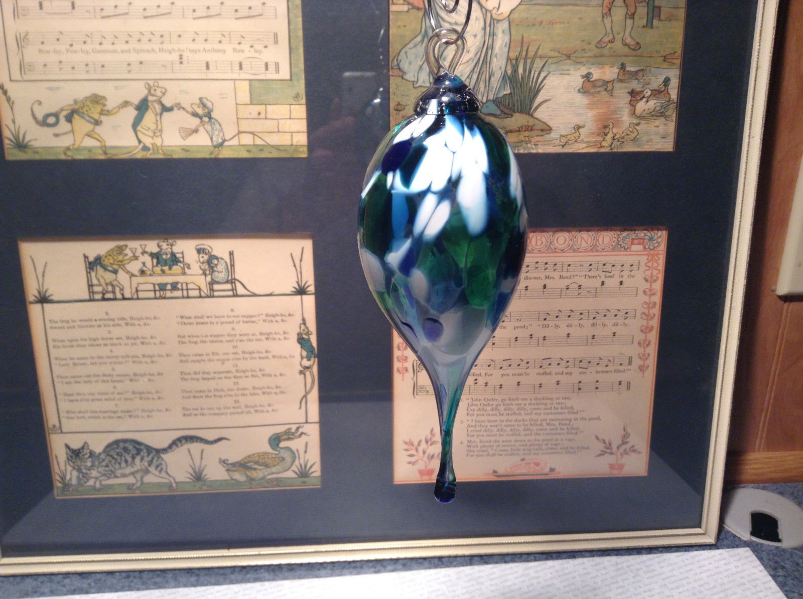 Heirloom Glass Hand Blown Pointed Drop Ornament Blue White Studio Glass