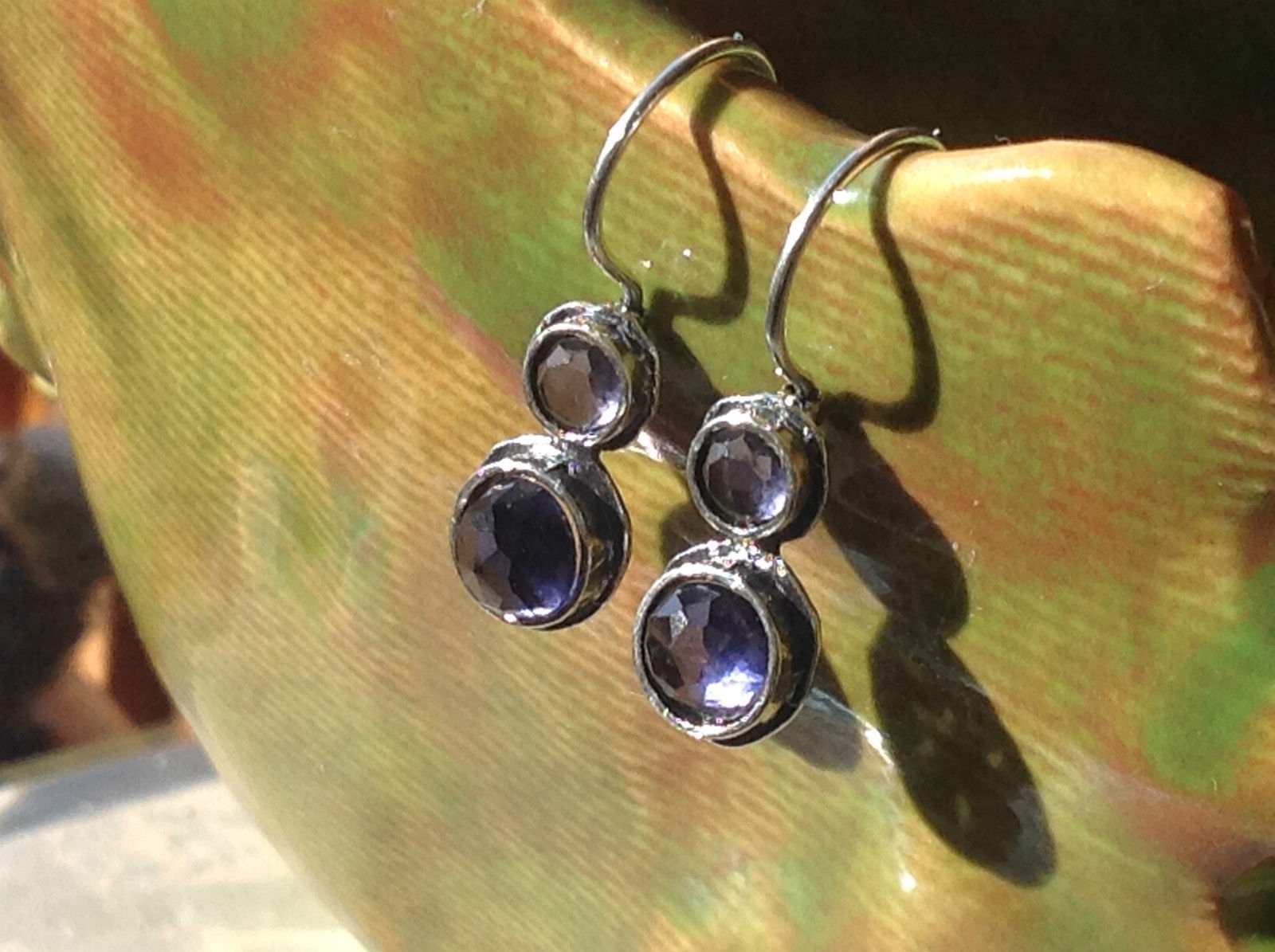 High Quality Faceted Round Amethyst Double Cabochon Sterling Silver Earrings