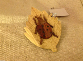 Hand carved multi colored grained wood ladybug ornament double sided image 2