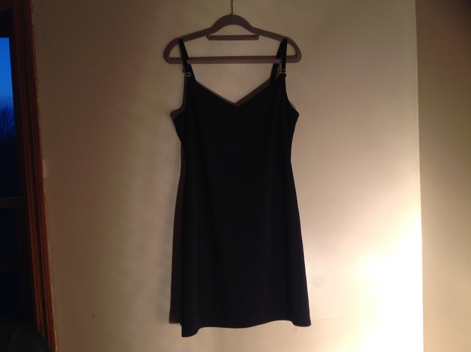 Little Black Dress Sweetheart Neckline Rhinestone Design Straps No Tag Size M