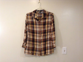 Long Sleeve Multicolored Plaid Button Up Collared Maggie Barnes Shirt Size 18W