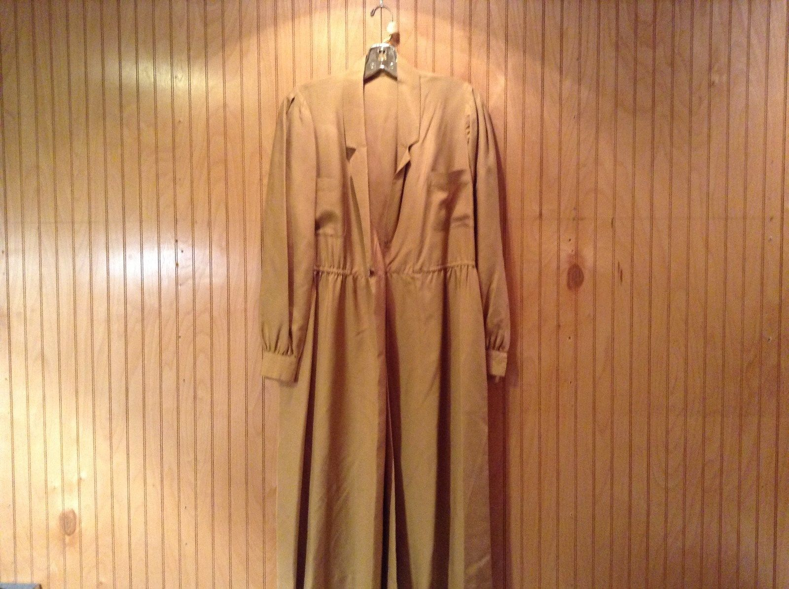 Long Brown Long Sleeved Dress One Button One Clasp Two Pockets Ties at Waist