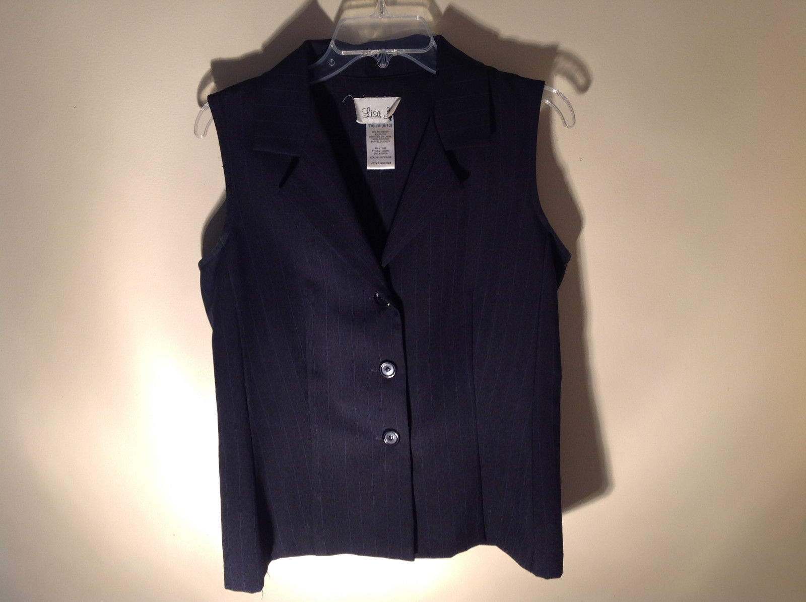 Lisa Jo Navy Blue Black Sleeveless Vest 3 Buttons Collar Formal Size 9 to 10