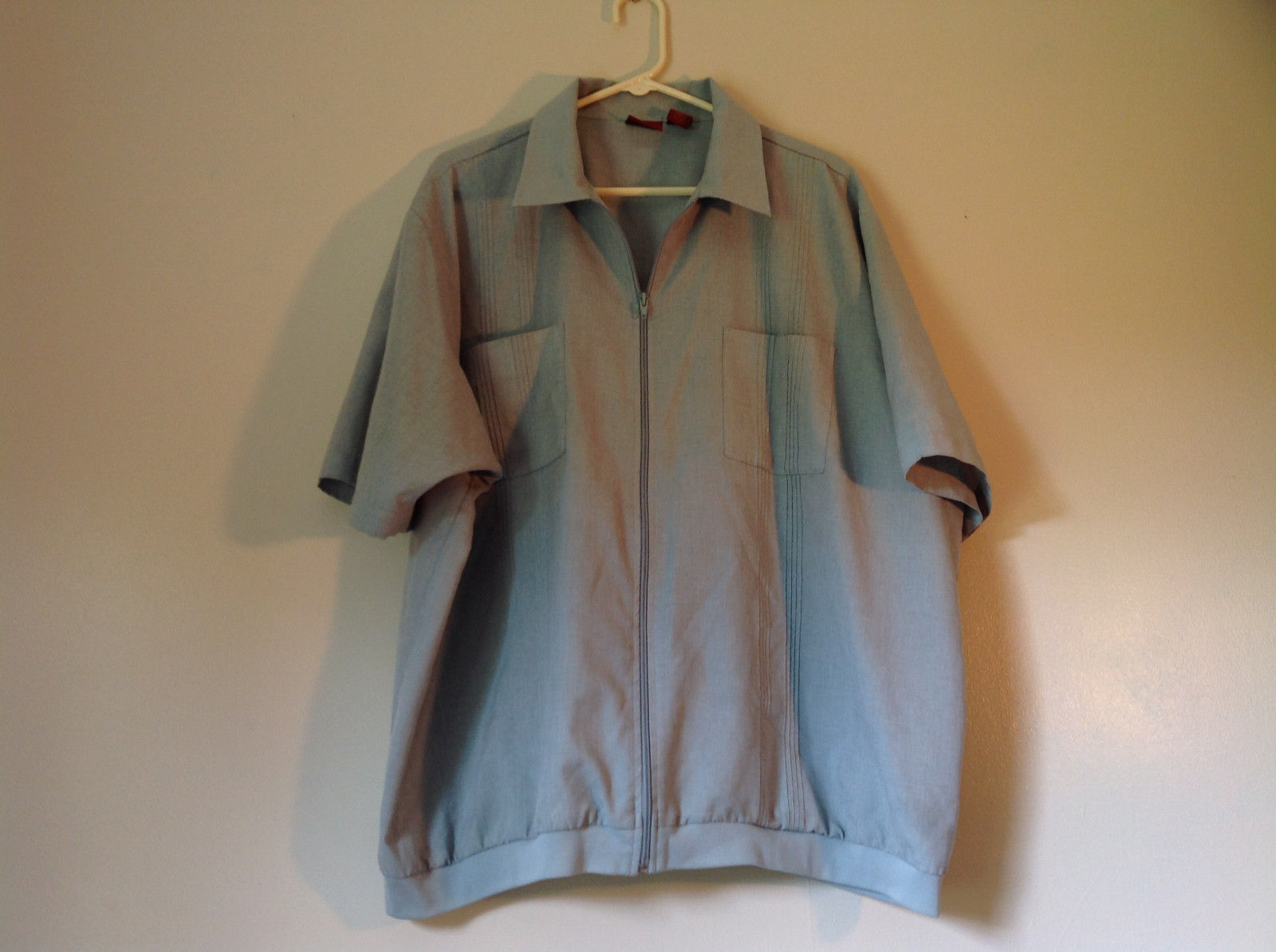 Lions Den Blue Light Gray Short Sleeve Zipper Closure Casual Shirt Size XXL