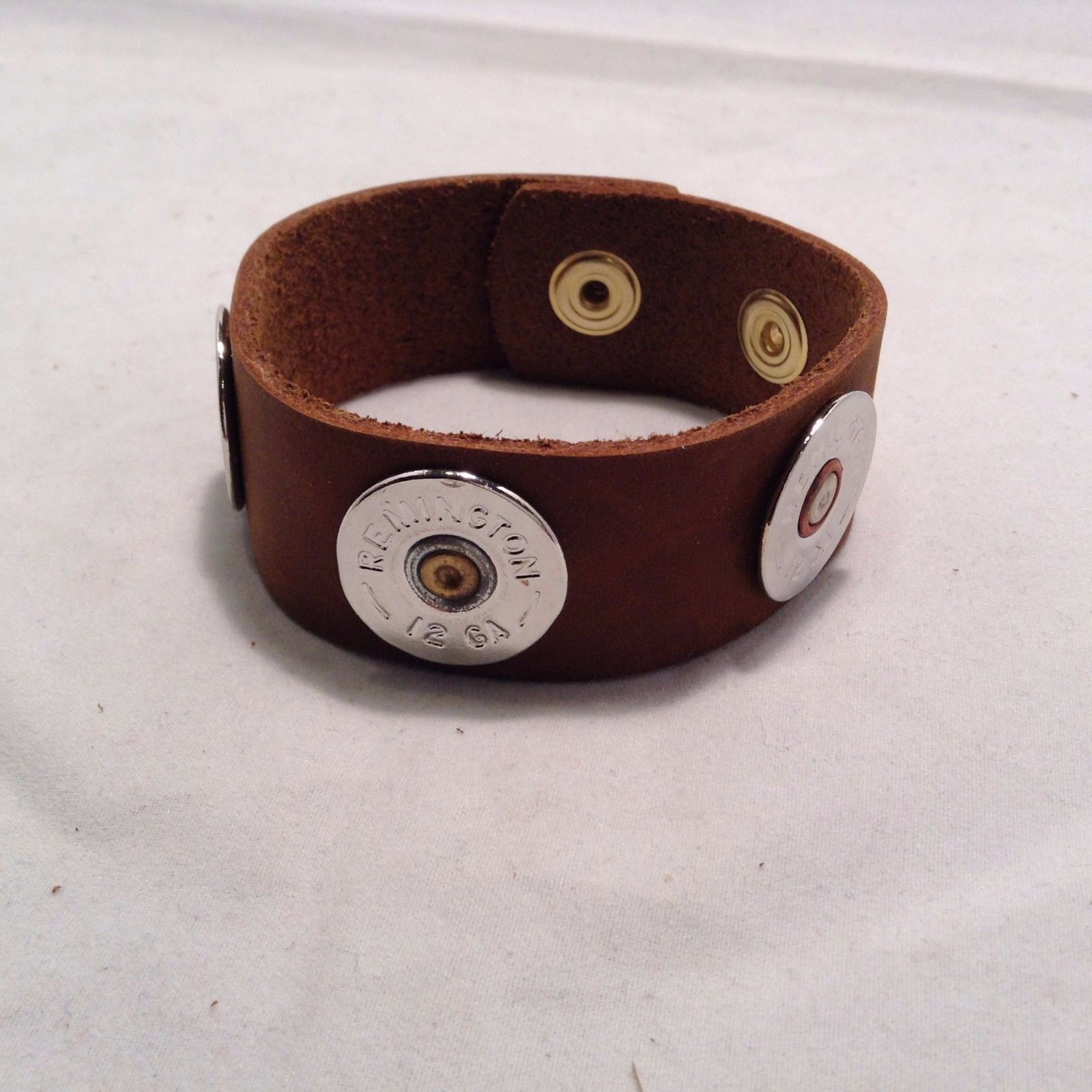 "Lizzy J leather 1"" cuff 9 inch cognac silver w spent shotgun shell cap USA made"