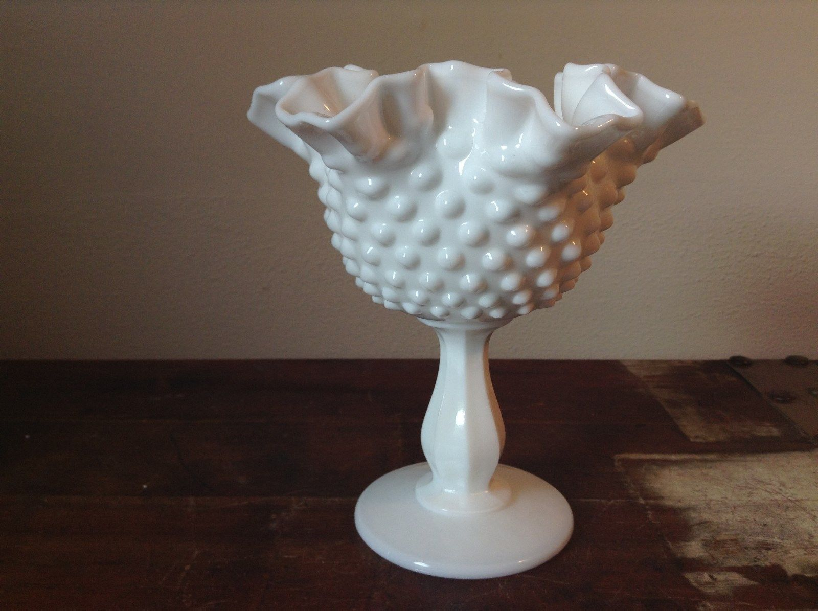 Hobnail White Milk Glass Decorated Berries or Fruit Bowl