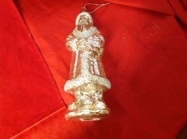 "Holiday glass ornament Christmas Antique look translucent tall 10"" Santa glitter image 1"