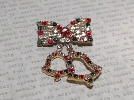 Holiday Pin Gold Tone Bow Tie Bells Inlaid Red Green White Element Crystals - $39.99