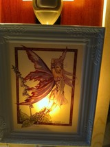 Hand painted  Porcelain Night light with bulb purple foxglove garden fairy image 2