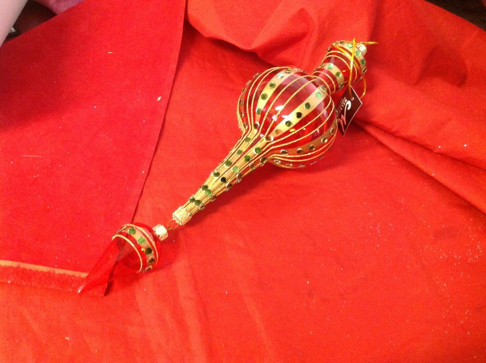 Holiday glass ornament Christmas red gold and green mirror finial