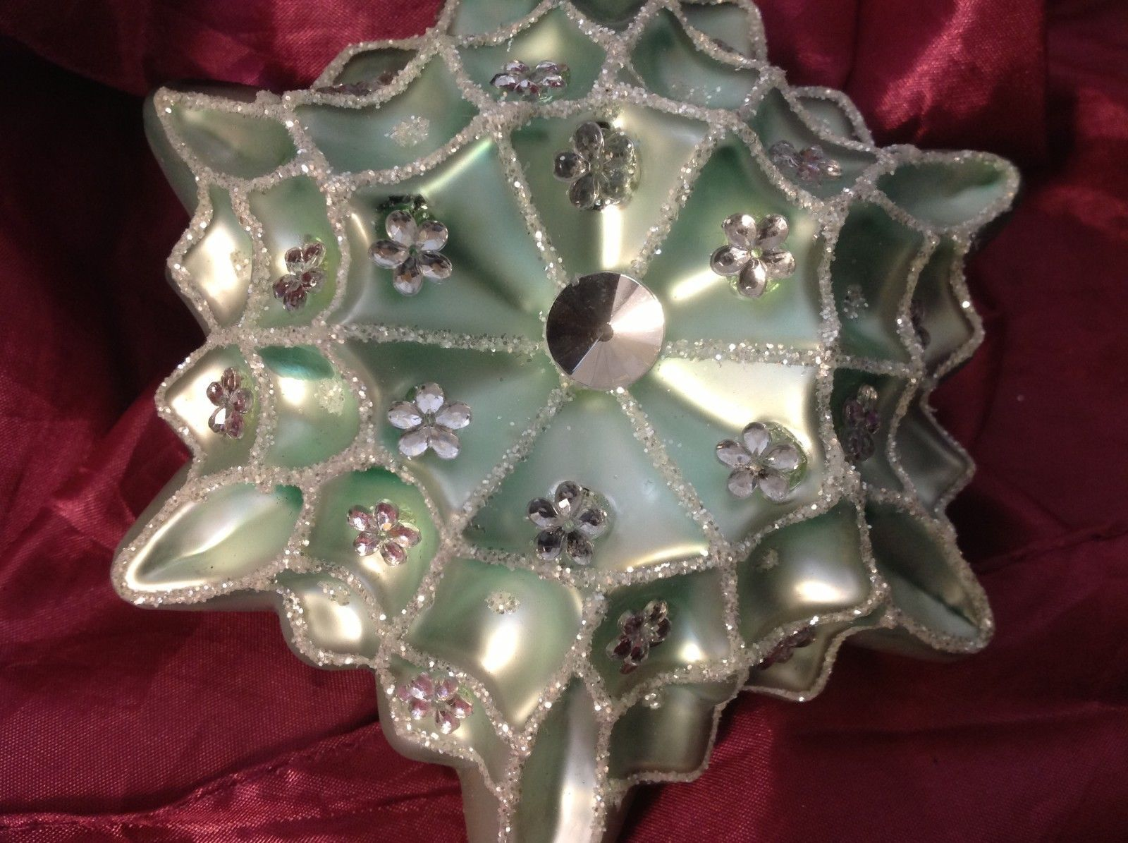 Holiday glass ornament Christmas glitter textured giant snowflake teal or mint