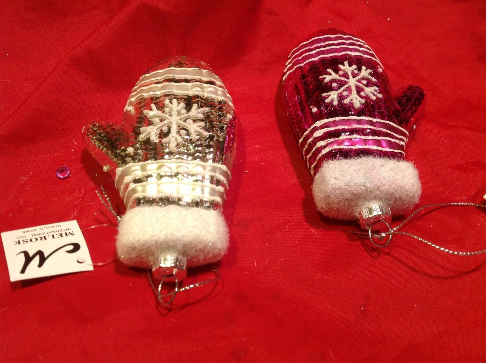 Holiday glass ornament Christmas pink or white mitten with snowflake design