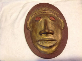 Hand made decorative wall art mask plaster cast and painted signed image 6