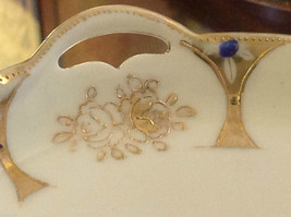 Hand painted gold roses blue accent handled charger vintage Japan  Nippon image 3