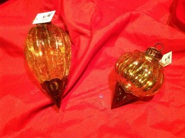 Holiday glass ornament Christmas vintage look metal drop ornaments in Amber