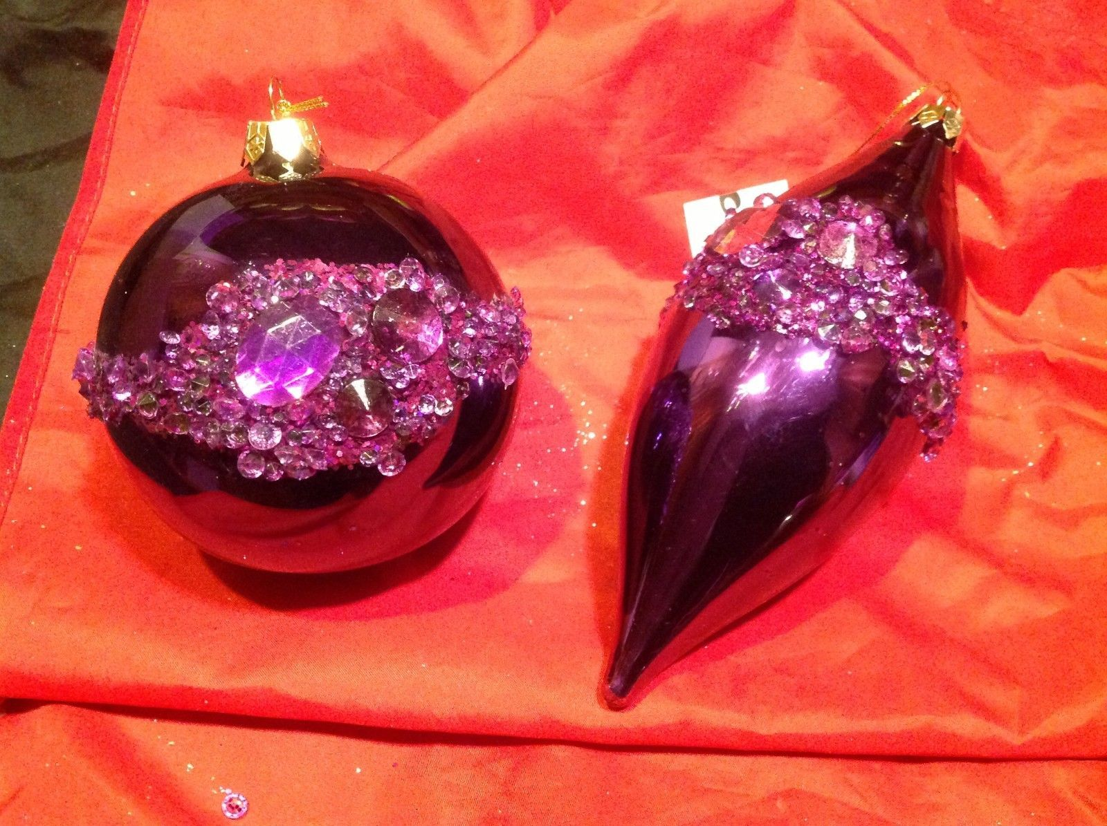 Holiday glass ornament Christmas shiny purple w jewel strips contemporary