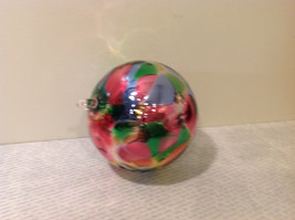 Handblown Recycled Glass Christmas Tree Ball Ornament Multicolor Bright image 2