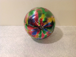 Handblown Recycled Glass Christmas Tree Ball Ornament Multicolor Bright image 5