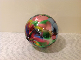 Handblown Recycled Glass Christmas Tree Ball Ornament Multicolor Bright image 4