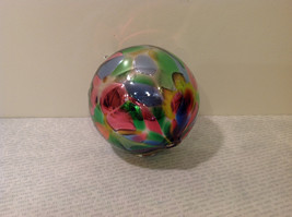 Handblown Recycled Glass Christmas Tree Ball Ornament Multicolor Bright image 3