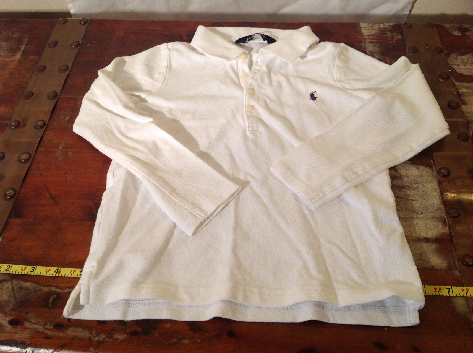 Long Sleeve White Ralph Lauren Collared with Buttons Polo Shirt