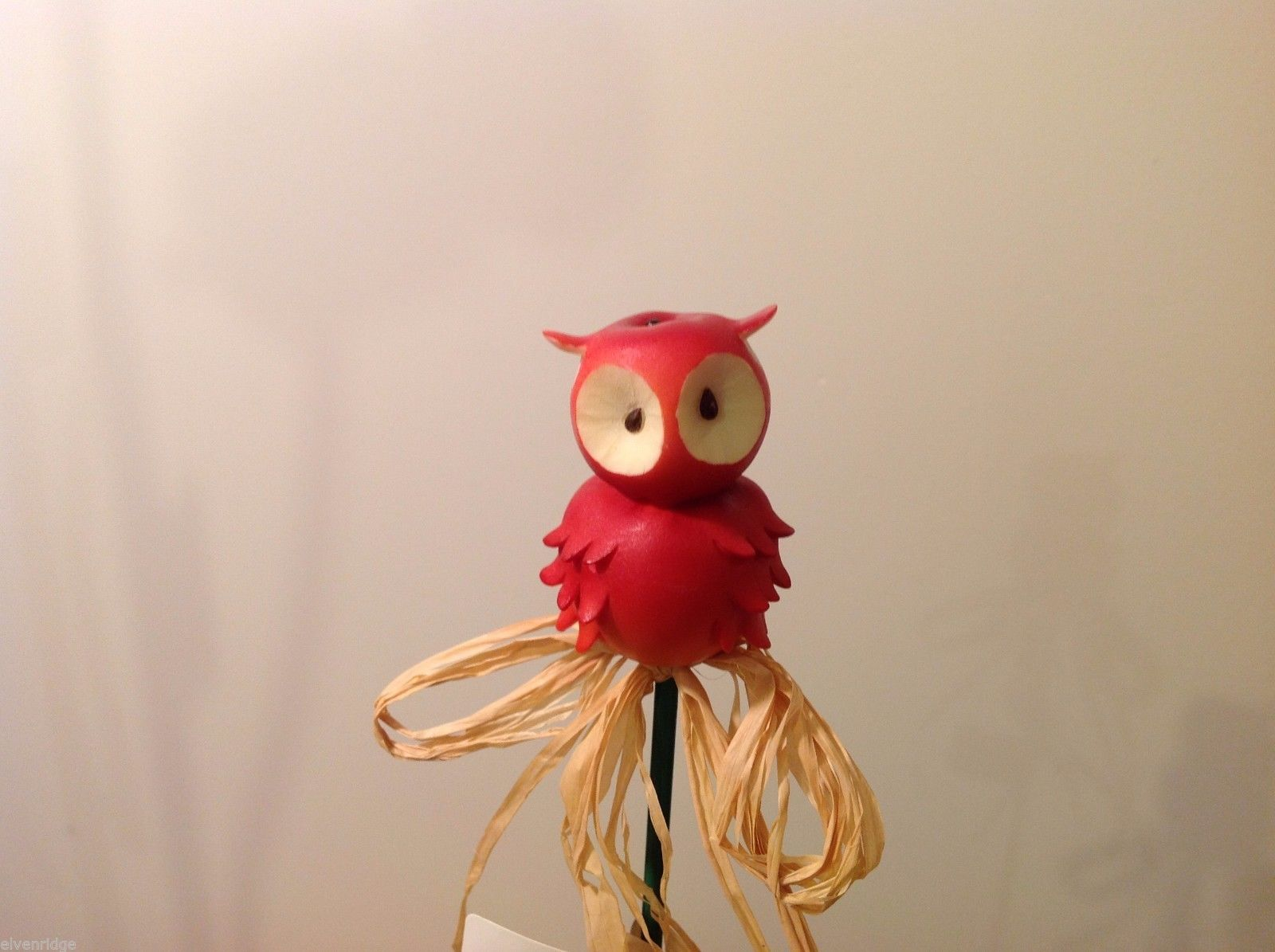 Home Grown Plant Pot Stick Apple Owl  Play w your Food Sculpted