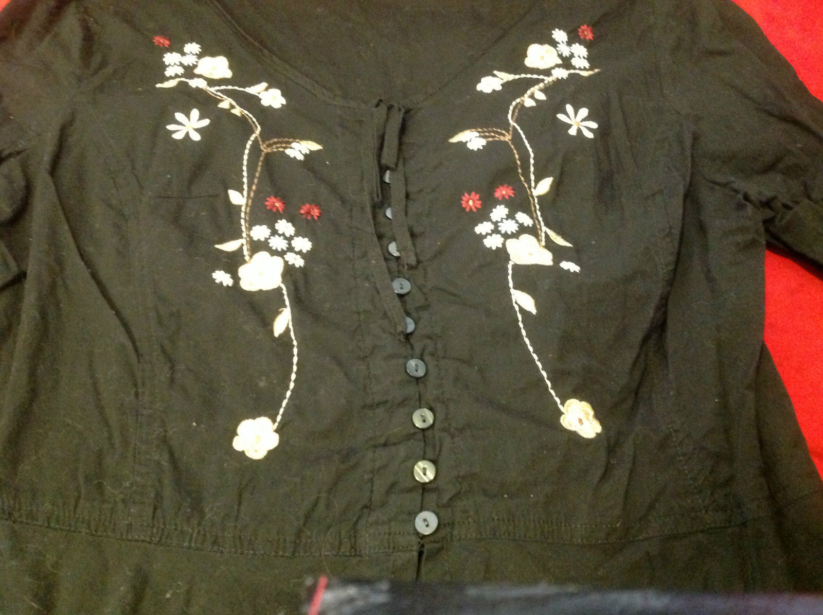 Long Sleeve black floral blouse no tags