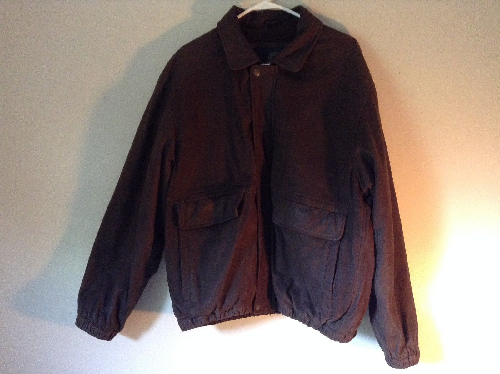 Long Sleeve Zip Up with Snap Structure Architects of Style Leather Jacket Size L
