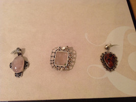 Lot of 3 Vintage Singles Pink and Red stone Silver tone metal pendants