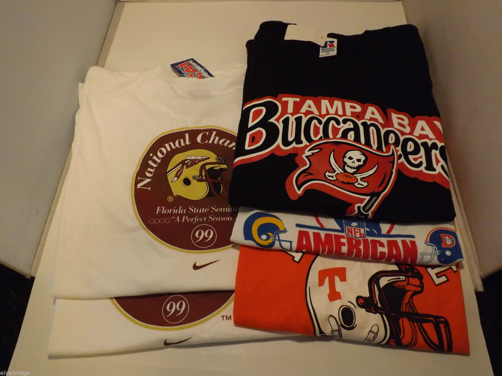Lot of 5 Football T-Shirts Rams Broncos Seminoles Volunteers Buccaneers