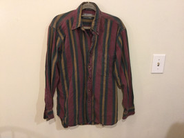 Lord & Taylor Mens Multicolor Striped Button Down 100% cotton Casual Shirt image 1