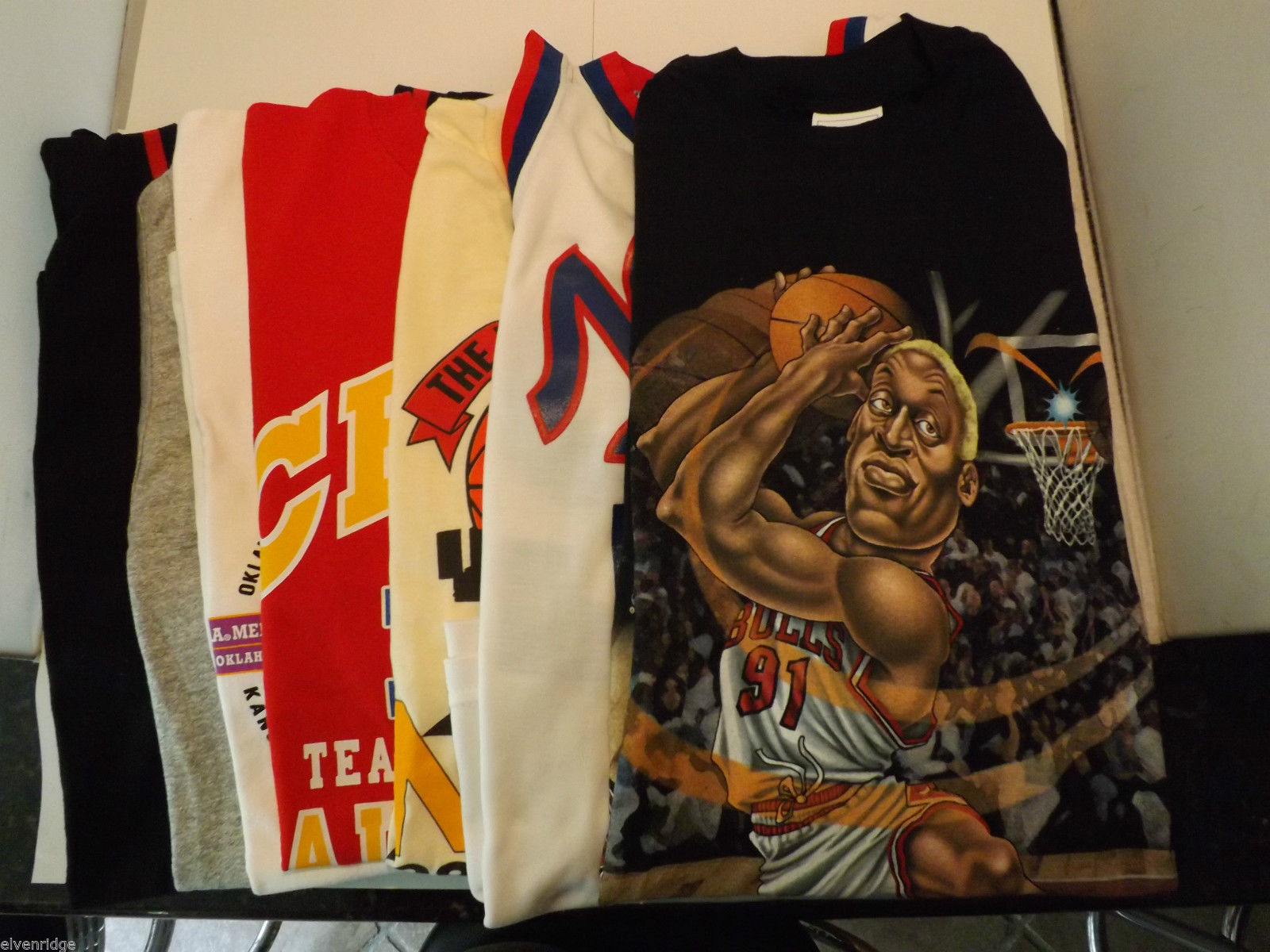 Lot of 7 Vintage Basketball/Football Shirts Size XL/XXL