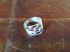 Handcrafted 925 Sterling Silver Multiband Ring with 6 Violet CZ Stackers Size 7 image 2