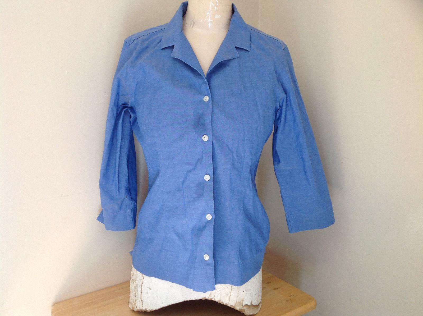 Lovely Eddie Bauer Blue Button Up Dress Shirt Made in Thailand Size Medium