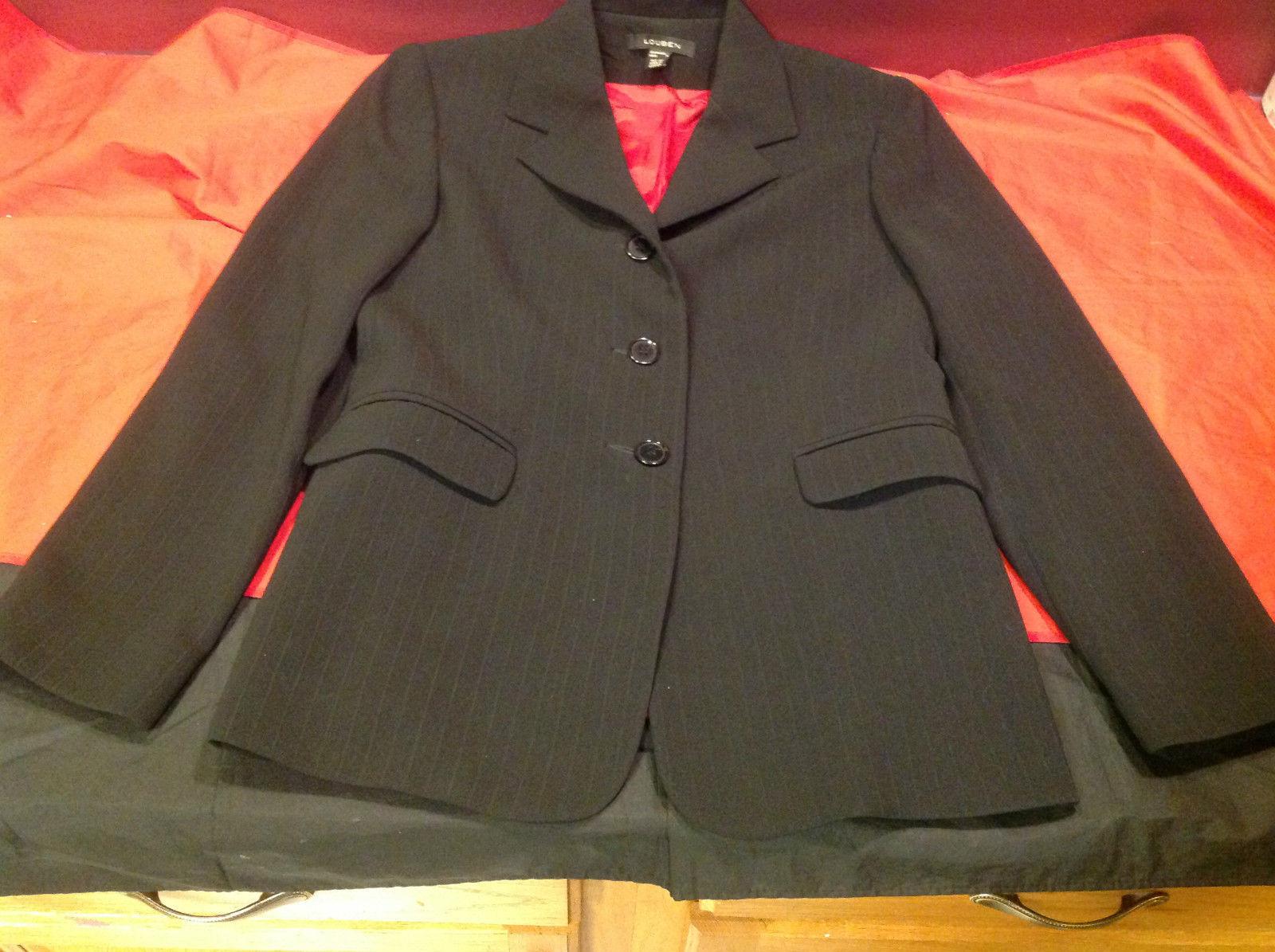 Louben Elegant Ladies Black Pin Striped Blazer 3 Button Front Size 6