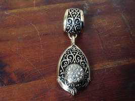 Lovely Small Clear Crystals Vintage Style Gold Tone Scarf Pendant image 1