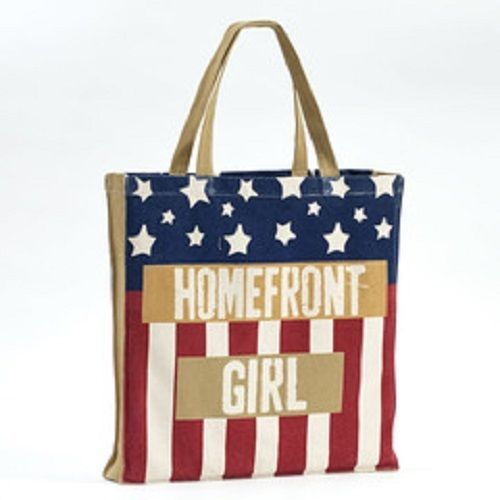 Homefront Girl 100% Cotton gusseted tote carry handbag sack red white and blue
