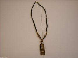 Handcrafted Beaded Necklace with Tribal Wood Carving Metalwork by Kenyan Artist image 2