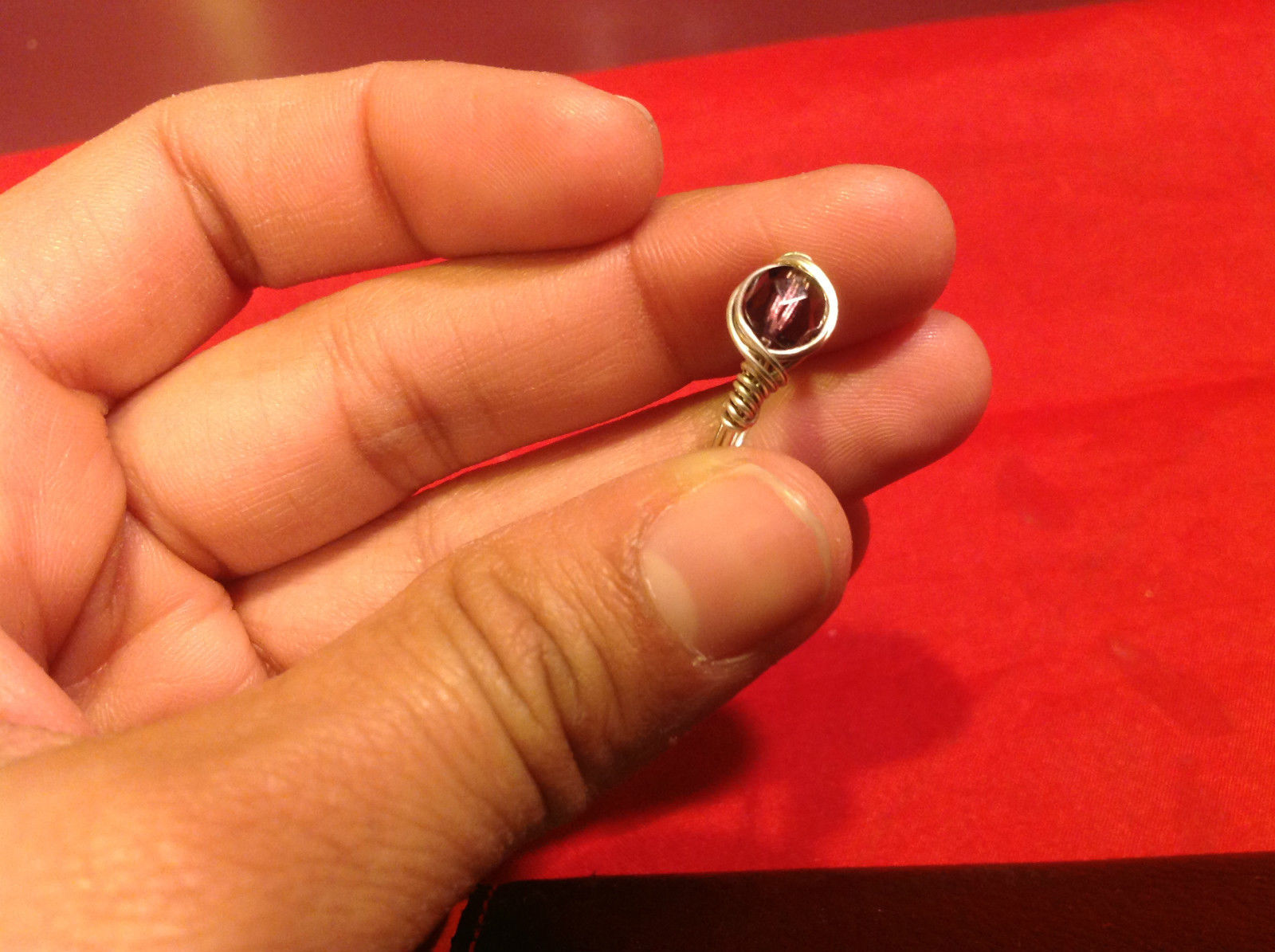 Homemade 7 ring wrap germanium to prevent tarnish Purple Silver