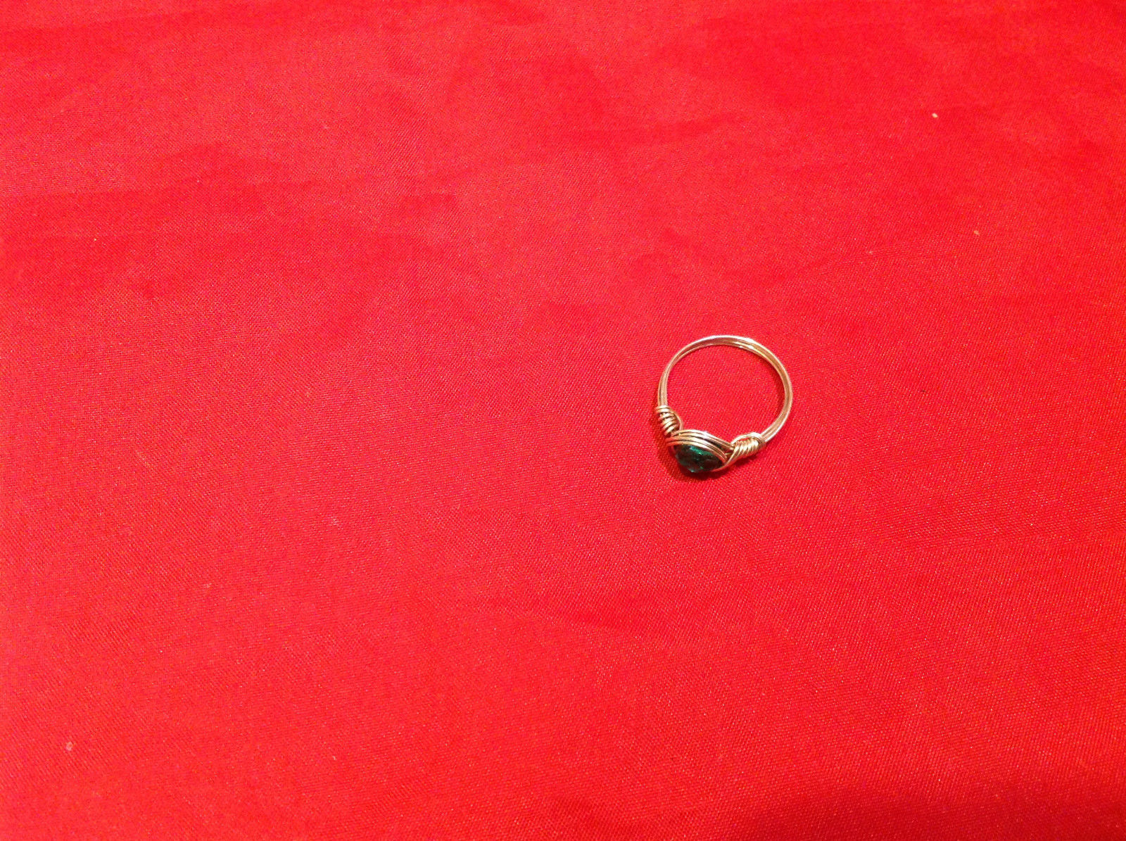 Homemade 6 and 1/4 Ring Wrap germanium to prevent tarnish Teal Torquoise Silver