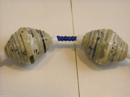 Handcrafted Blue and White Rolled Paper Beaded Necklace by Kenyan Artist image 3