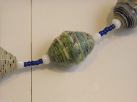 Handcrafted Blue and White Rolled Paper Beaded Necklace by Kenyan Artist image 4