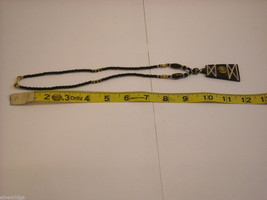 Handcrafted Beaded Necklace with Tribal Wood Carving by Kenyan Artist image 3