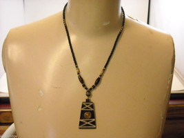 Handcrafted Beaded Necklace with Tribal Wood Carving by Kenyan Artist image 2