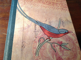Handcrafted Journal with Red and Gray Bird on Cover Blank Pages Asian Look image 5