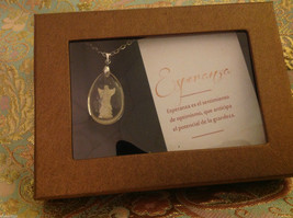 Hope in Spanish Esperanza angel  pendant w sentiment in Espanol w gift box