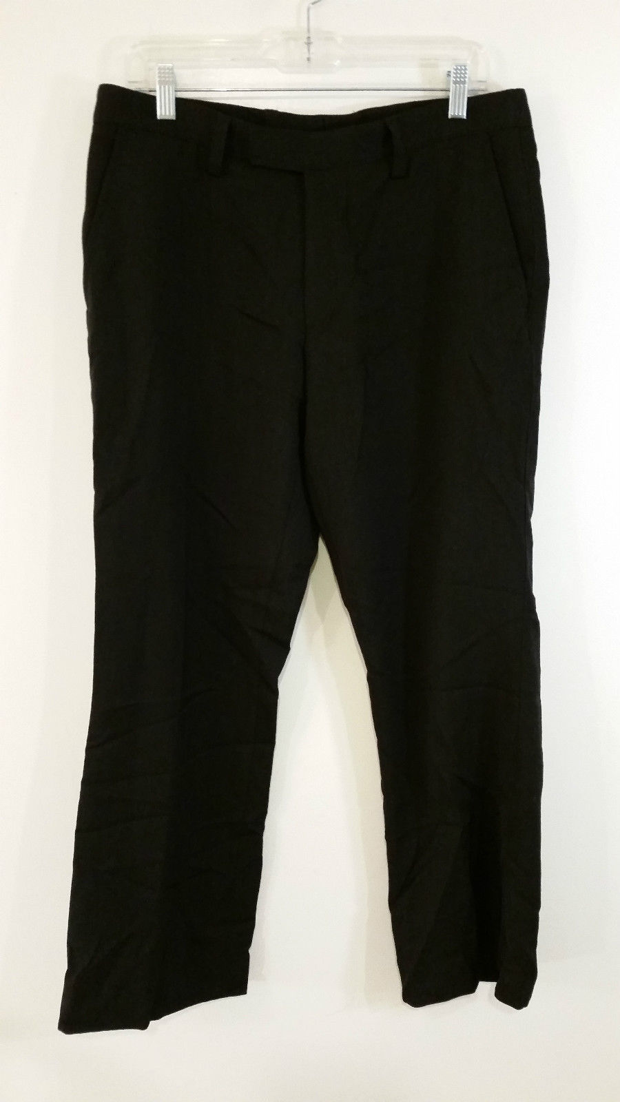 Hugo Boss Black Flat Front Dress Pants 100 Percent Wool Excellent Condition