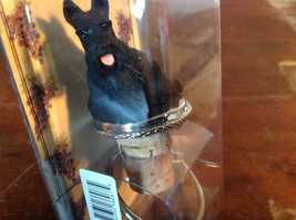 Handcrafted Bottle Stopper with Black Scotty Dog NIB Metal Ring New in Packaging image 3