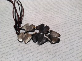 Handcrafted Pewter Necklace Earring Set Silver Tone Adjustable Ginkgo Leaf image 6