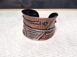 Handcrafted Pewter Based Metal Brass Hammered Wide Cuff Bracelet Relief image 2
